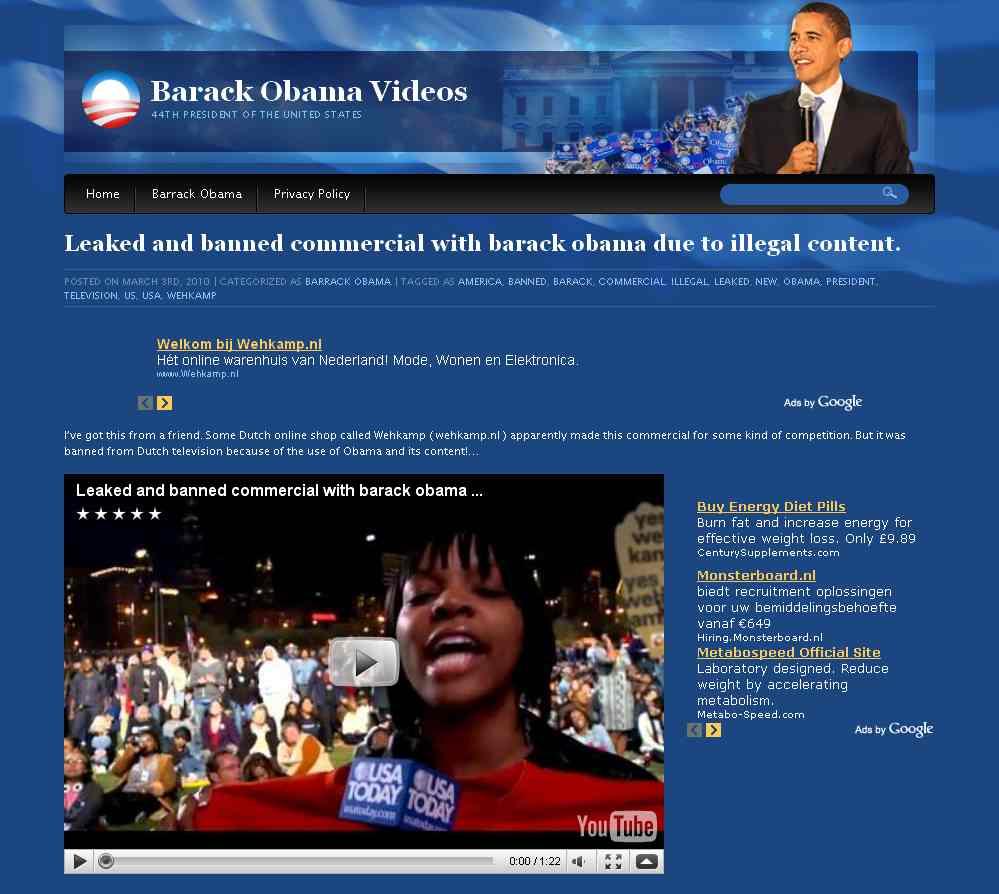 Screenshot Obama's site